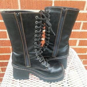 Women's black Soda combat military lace up boots